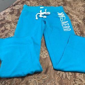 Aeropostale sweat pants boot cut teal color